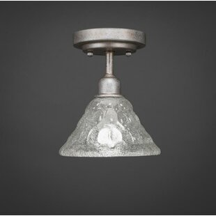 Kash 1-Light 60W Italian Bubble Glass Semi-Flush Mount by Williston Forge
