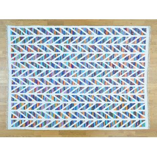 Compare prices One-of-a-Kind Gaetane Handmade Kilim 8'9 x 11'10 Wool Blue/White Area Rug By Isabelline