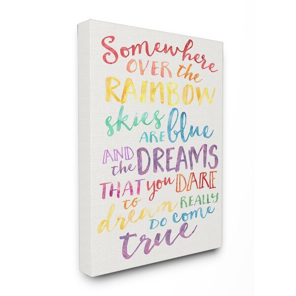 Zoomie Kids Kleckner Somewhere Over The Rainbow Watercolors Canvas