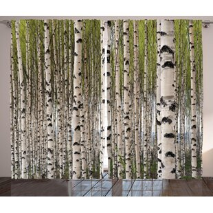 tree nature theme design birch trees with leaves in spring pattern tranquil forest digital print graphic print text semi sheer rod pocket curtain panels