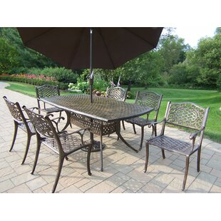 Oakland Living Mississippi 7 Piece Dinning Set with Umbrella