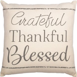 Penrith Grateful Thankful Blessed Cotton Throw Pillow (Set of 2)