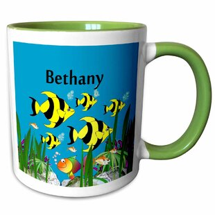 Garnett Tropical Plants and Fish Personalized with a Female Name Bethany Coffee Mug