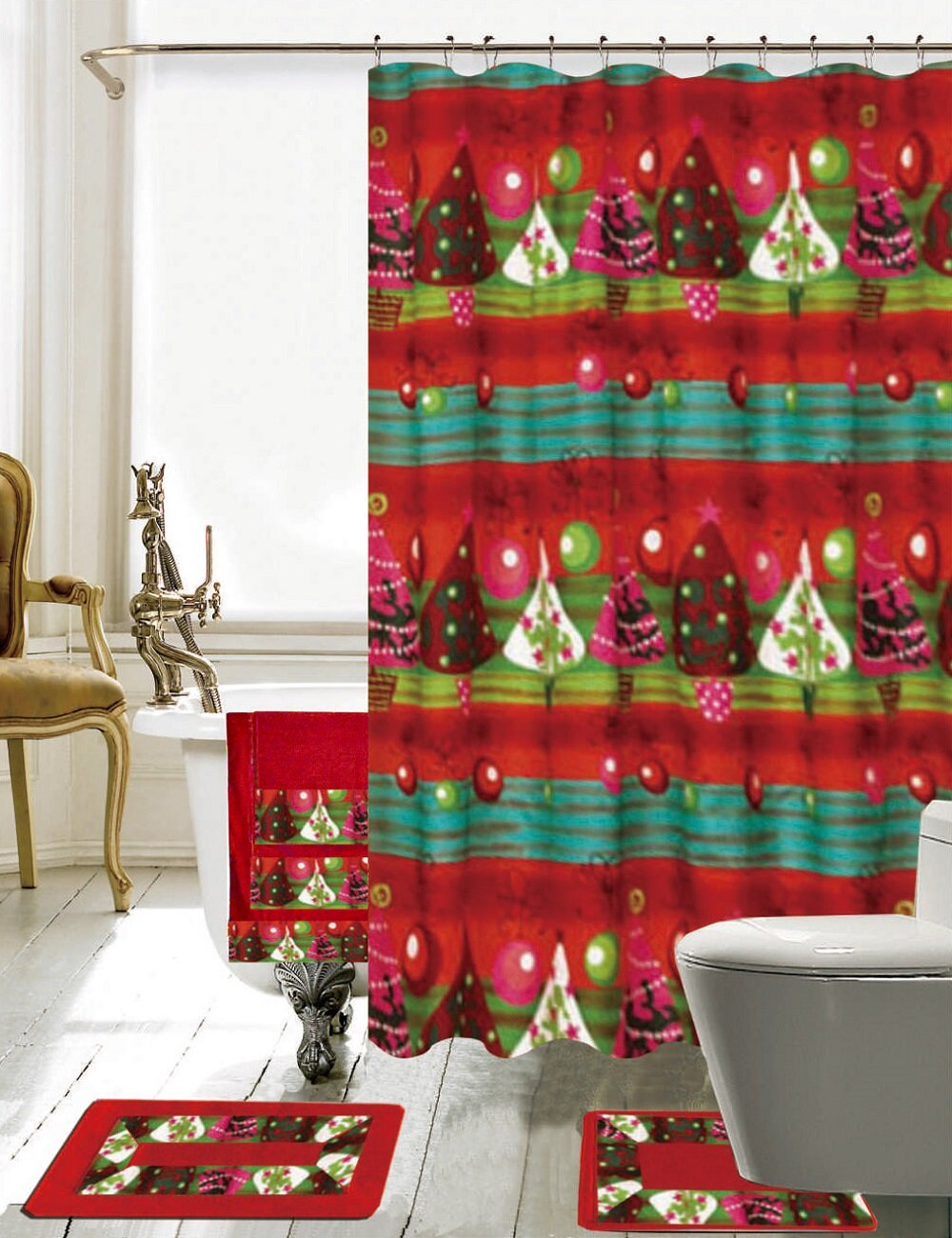 The Holiday Aisle Christmas Bathroom Decor 18 Piece Bath Set Hooks Reviews Wayfair