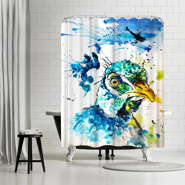 East Urban Home Allison Gray Peacock Shower Curtain