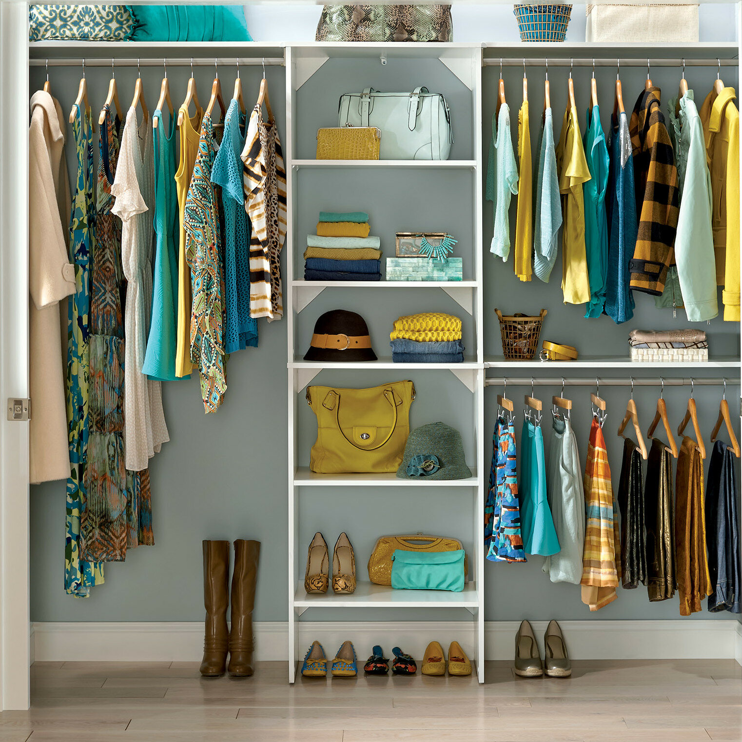 closetmaid suitesymphony 84 w 120 w closet system with top shelves reviews wayfair. Black Bedroom Furniture Sets. Home Design Ideas