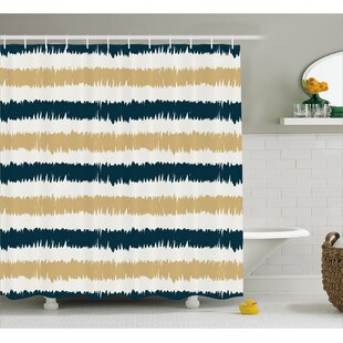 Synthia Navy Blue Beige Brush Shower Curtain + Hooks
