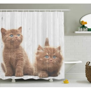 Animal Cute Kitten Kids Decor Single Shower Curtain