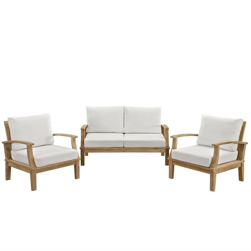 Elaina Teak 3 Piece Sofa Set With Cushions