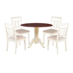 Chesterton 5 Piece Drop Leaf Solid Wood Dining Set Alcott Hill