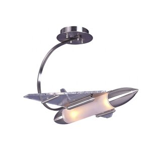 Zoomie Kids Kindel Childrens Rocket Ship 2-Light Novelty Chandelier