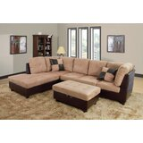 """Russ 103.5"""" Wide Linen Sectional with Ottoman"""