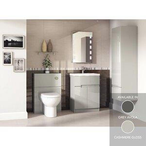 Badezimmer-Set Avola mit Spiegel mit Hintergrund..