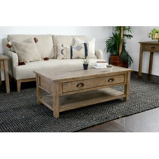 Reviews Enfield Driftwood Coffee Table with Storage By Highland Dunes