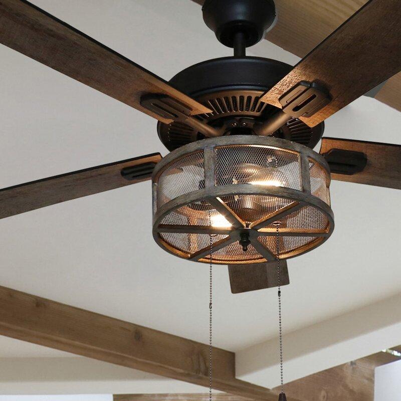 52 Quot Abbigail Woodgrain Caged Farmhouse 5 Blade Ceiling Fan