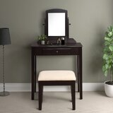 Aileene Solid Wood Vanity Set with Stool and Mirror by Red Barrel Studio®