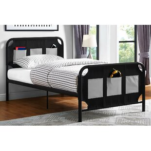 Compare prices Jefferson Place Metal Twin Platform Bed with Storage Pockets By Zoomie Kids