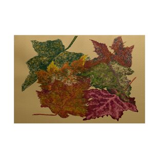 Maillett Autumn Leaves Flower Print Gold Indoor/Outdoor Area Rug