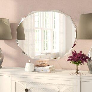 120x80 Luxury crushed diamond wall mirror with inset mirror and diamond pillars
