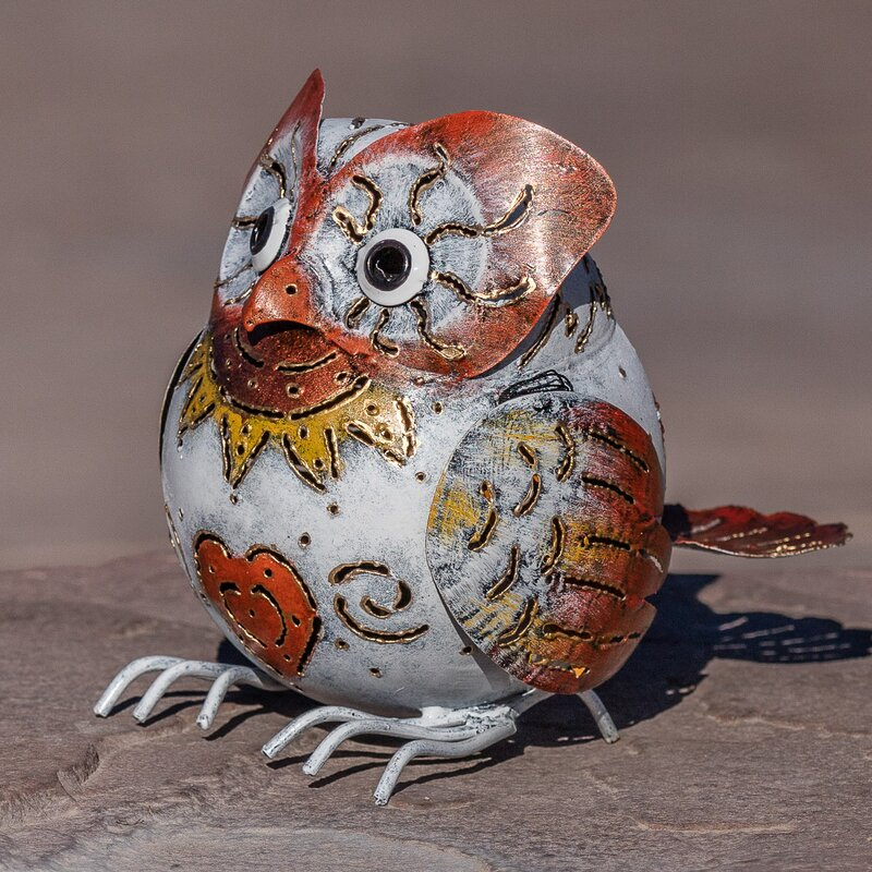 Bali Garden Metal Snow Owl Garden Statue