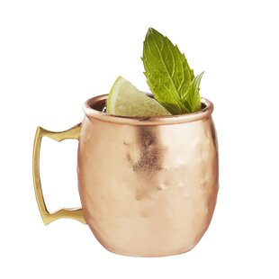 Ptolemy Moscow Mule Hammered 2.5 Oz. Stainless Steel Mug (Set of 4)