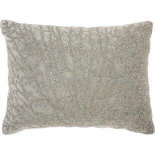 Beaded Coral Velvet 100% Cotton Lumbar Pillow