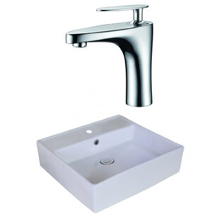 Affordable Ceramic Square Vessel Bathroom Sink with Faucet and Overflow ByAmerican Imaginations