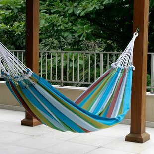 Double Person Fair Trade Striped Tropical Day' Hand-Woven Brazilian Cotton Indoor And Outdoor Hammock