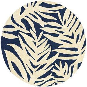 Amberjack Palms Hand-Woven Navy/Beige Indoor/Outdoor Area Rug