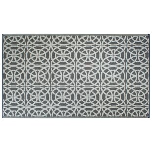 Khari Infinity Circle Gray/White Indoor/Outdoor Area Rug