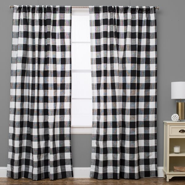 The Pillow Collection Plaid And Check Semi-Sheer Rod