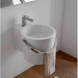 Scarabeo by Nameeks Bucket Ceramic Circular Vessel Bathroom Sink with Overflow