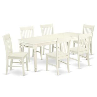 Pimentel 7 Piece Solid Wood Dining Set August Grove
