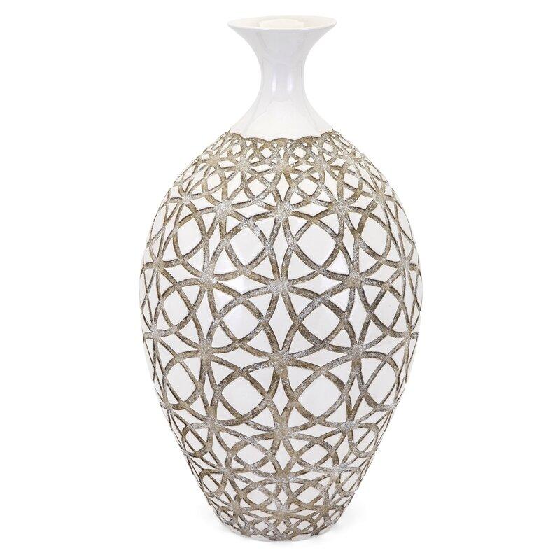 Tall Ivory Earthenware Floor Vase Reviews Joss Main
