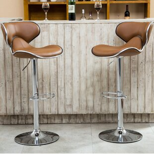 Harlow Adjustable Height Swivel Bar Stool (Set of 2) by Wade Logan