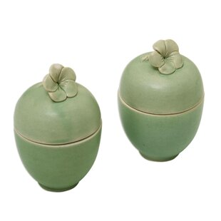 Frangipani Surprise Floral Ceramic Storage Jar (Set of 4)