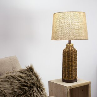 Ayla Wicker Wood Shade 26� Table Lamp by Bay Isle Home