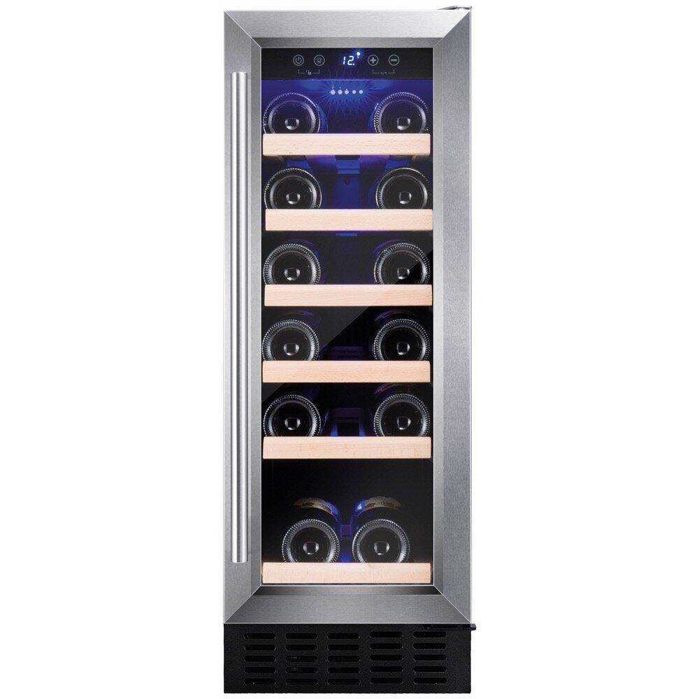 301 Mmfreestanding Wine Cooler, 19 Bottle Capacity, Electronic Temp Control 5-20, Black Glass Door