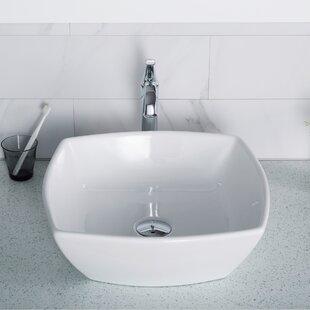 Compare prices Elavo Ceramic Square Vessel Bathroom Sink ByKraus