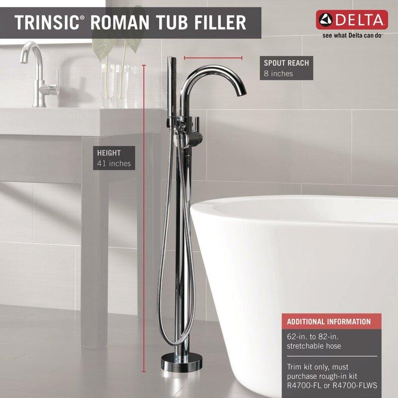 Delta Trinsic® Single Handle Floor Mount Freestanding Tub Filler ...
