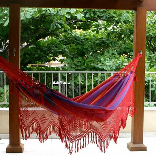 Double Person Fair Trade Striped Hand-Woven Brazilian Sustainable Cotton with Crocheted Fringes Indoor And Outdoor Hammock