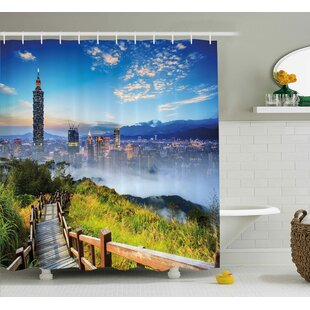 Alyson Scenery Beautiful Scenery of a City Cosmopolitan Life and Nature With Bridge Print Single Shower Curtain