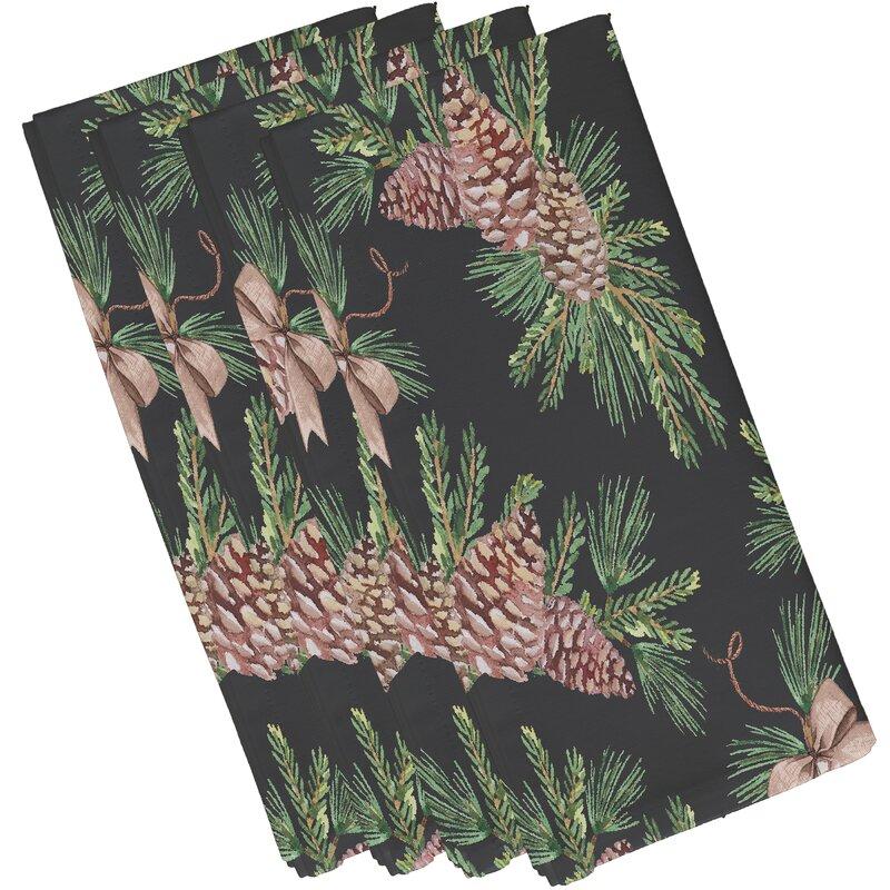 Millwood Pines Welliver Greenery Holiday 4 Piece Napkin Set Wayfair