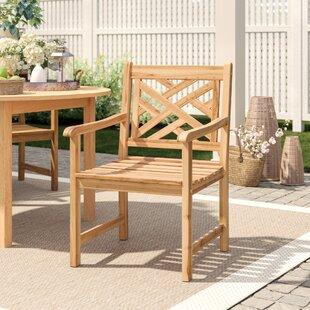 Summerton Lattice Back Teak Patio Dining Chair