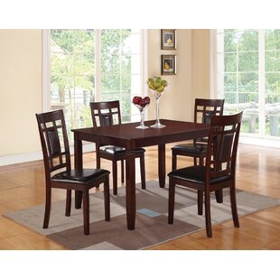 Winston Porter Hoff Wooden and Leather 5 Piece Dining Set