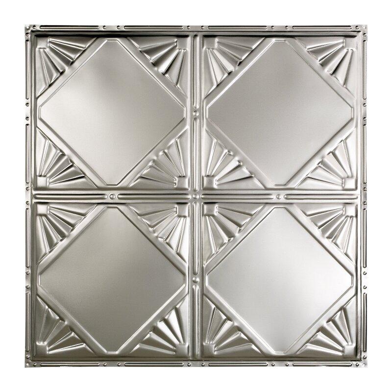 Greatlakestin Erie 2 04 Ft X 2 04 Ft Nail Up Tin Ceiling Tile In Clear Coat Wayfair