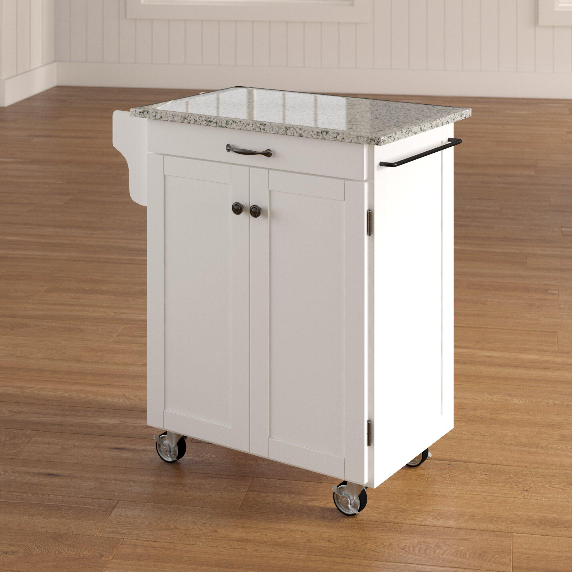 Wayfair & Savorey Kitchen Cart with Granite Top
