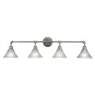 Williston Forge Kash 4-Light Bell Clear Vanity Light