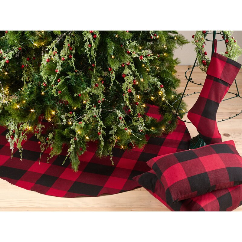 farmersville plaid cotton christmas tree skirt