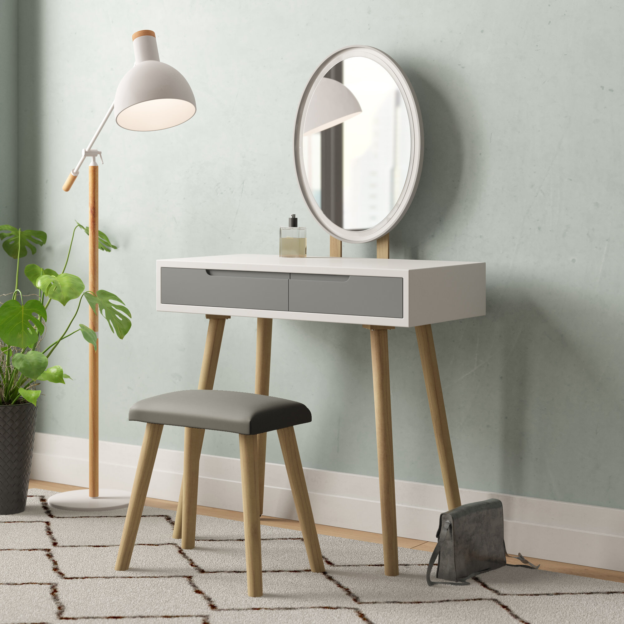 Langley Street Jossa Vanity Set With Stool And Mirror Reviews Wayfair